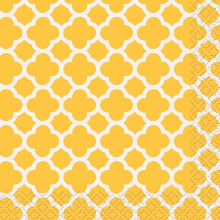 Sunflower Yellow Quatrefoil Beverage Napkins (16)