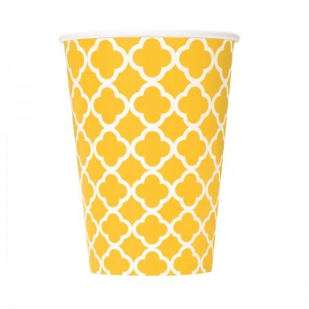 Sunflower Yellow Quatrefoil Cups (6)