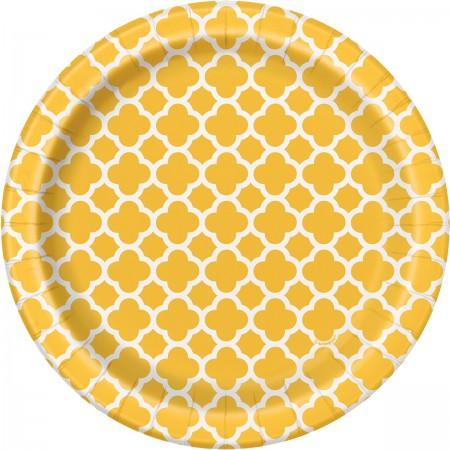 Sunflower Yellow Quatrefoil Dessert Plates (8)