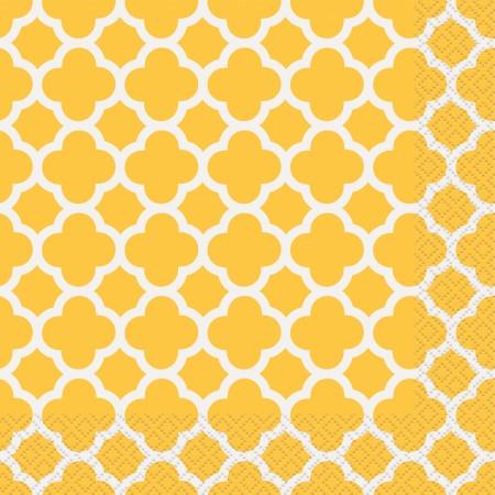 Sunflower Yellow Quatrefoil Lunch Napkins (16)