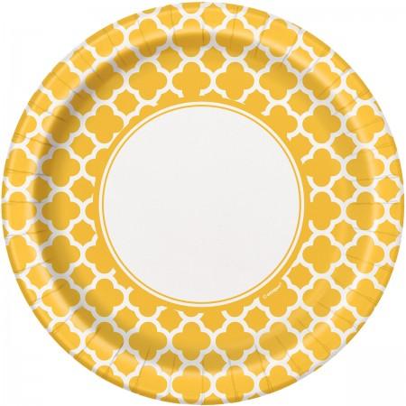 Sunflower Yellow Quatrefoil Lunch Plates (8)