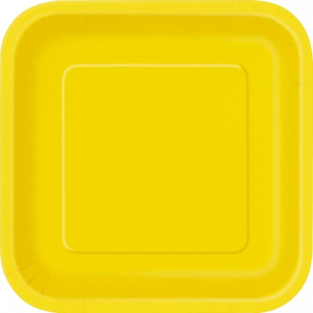 Sunflower Yellow Dessert Square Plates (16)