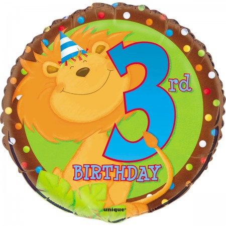 "Third Birthday Jungle 18"" Foil Balloons (1)"