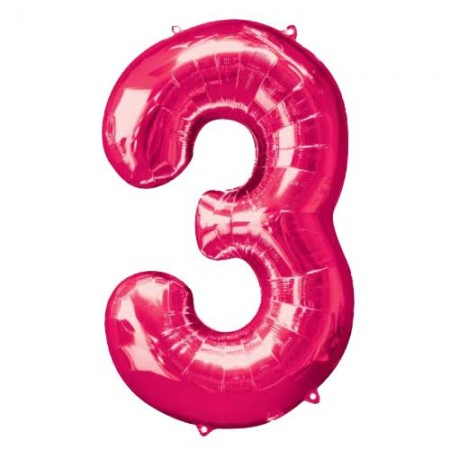 """34"""" Three Pink Number Shape Foil Balloon (1)"""