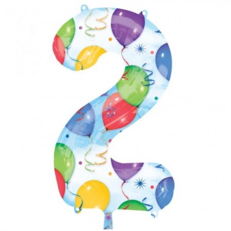 """34"""" 2 Number Shape Balloons And Streamers (1)"""