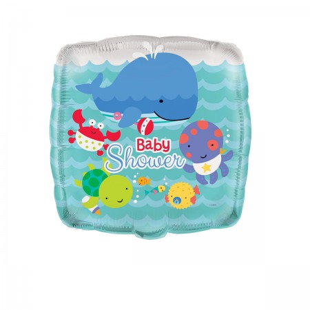 "Under The Sea Pals Baby Shower Square Foil Balloon 18"" (1)"