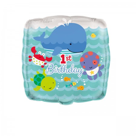 """Under The Sea Pals 1st Birthday Square Foil Balloon 18"""" (1)"""