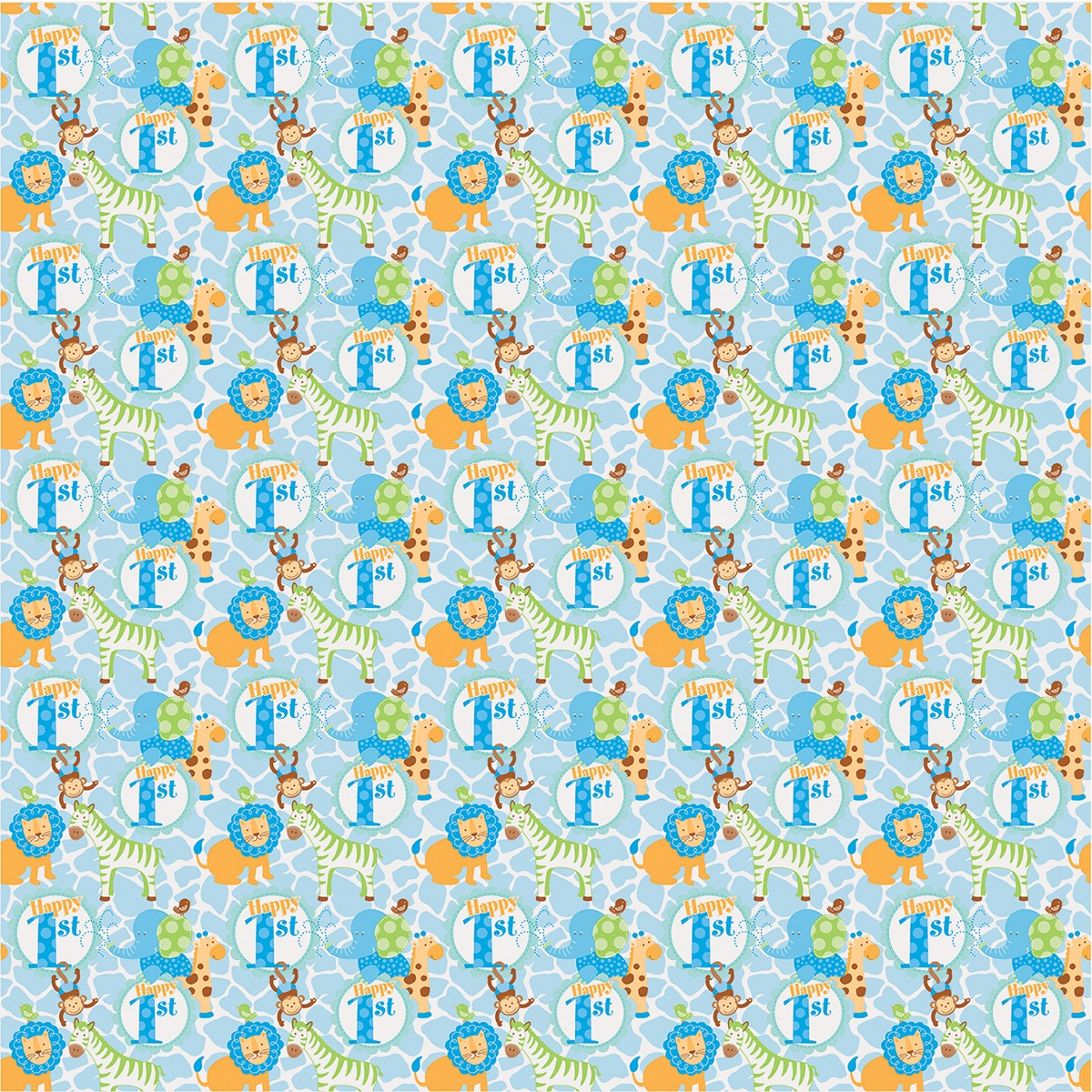 Blue Safari First Birthday Giftwrap 1 Zoom