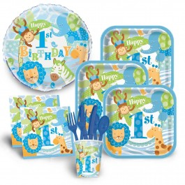 1st Birthday Blue Safari Economy Kit