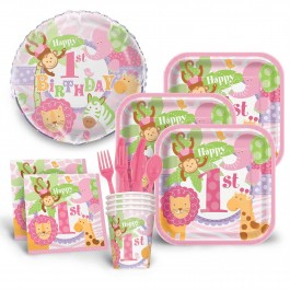 1st Birthday Pink Safari Economy Kit