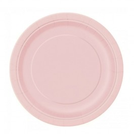 Pastel Pink Round Lunch Plates (16)