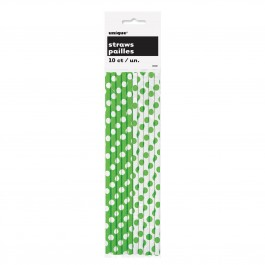 Lime Green Dots Paper Straws (10)