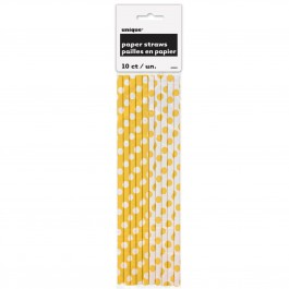 Sunflower Yellow Dots Paper Straws (10)