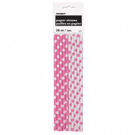Hot Pink Dots Paper Straws (10)