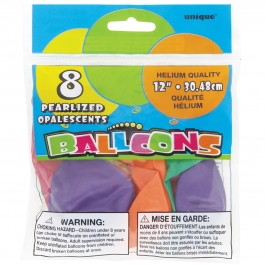 Assorted Pastel Pearlized Balloons (8)