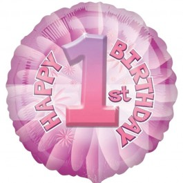 Baby's First Birthday Pink Foil Balloon (1)