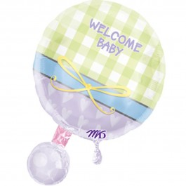 "Baby Rattle Personalized Balloon 18""  (1)"