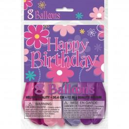 """Birthday Blossom Balloons 12"""" (8)"""