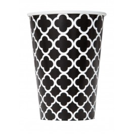 Black Quatrefoil Cups (6)