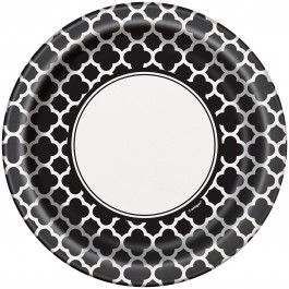 Black Quatrefoil Lunch Plates (1)