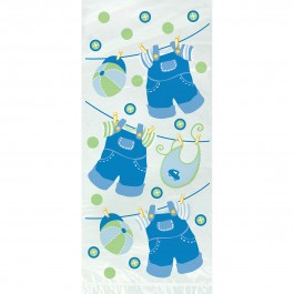 Blue Clothesline Baby Shower Cello Bags (20)
