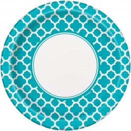 Caribbean Teal Quatrefoil Lunch Plates (8)