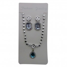 Blue Oval gem pendant set (1)