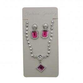 Pink Square Pendant Set (1)