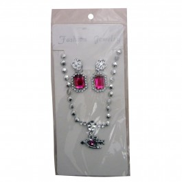 Pink Heart Arrow Pendant Set (1)