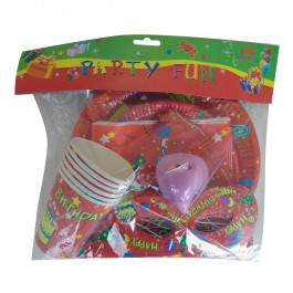 Balloons and Cake Red Party Pack for 6 (1)