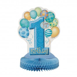 "First Birthday Blue 14"" Honeycomb Centerpiece (1)"