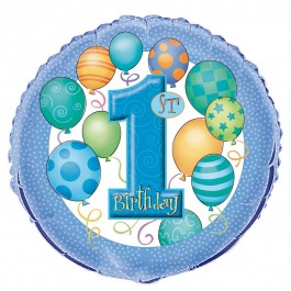 "First Birthday Blue 18"" Foil Balloon (1)"