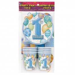 First Birthday Blue Party Pack for 8 (1)