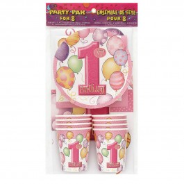 First Birthday Pink Party Pack for 8 (1)