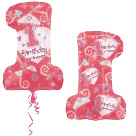 First Birthday Princess Girl Foil Balloon (1)