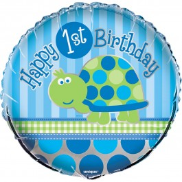 "First Birthday Turtle 18"" Foil Balloon (1)"
