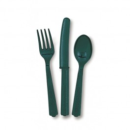 Forest Green Assorted Cutlery  (24)
