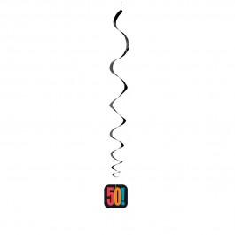 "50th Milestone Birthday Hanging Swirl Decorations 26""L (3)"