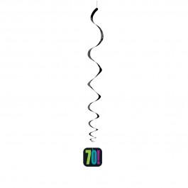 "70th Milestone Birthday Hanging Swirl Decorations 26""L (3)"