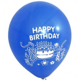 Happy Birthday Blue Latex Balloons (100)