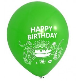 Happy Birthday Green Latex Balloons (100)