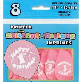 Happy First Birthday Baby Pink Printed Balloons (8)