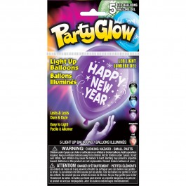"Happy New Year Light Up Balloons 10"" (5)"