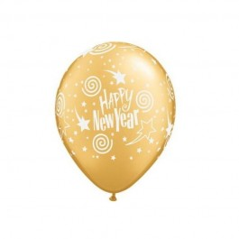 New Year swirling Stars Printed Golden Balloons (100)