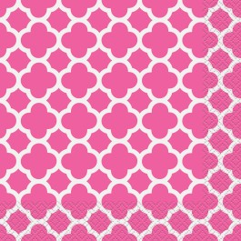 Hot Pink Quatrefoil Lunch Napkins (16)