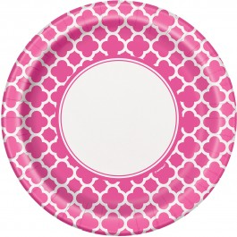 Hot Pink Quatrefoil Lunch Plates (8)