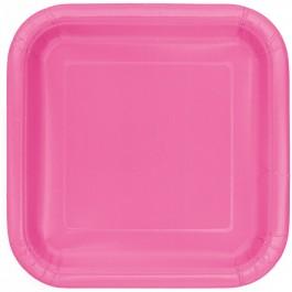 Hot Pink Square Dessert Plates (16)