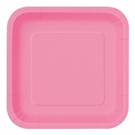 Hot Pink Square Lunch Plates (14)