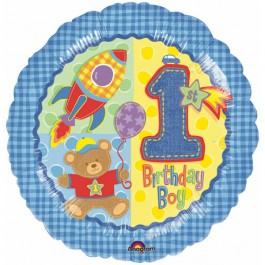 Hugs/Stitches First Birthday Boy Foil Balloon (1)