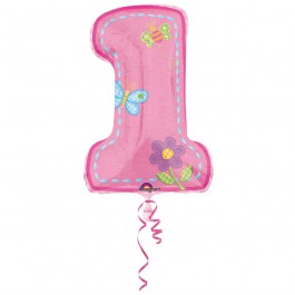 "Hugs & Stitches First Birthday Girl Foil Balloon 28""  (1)"